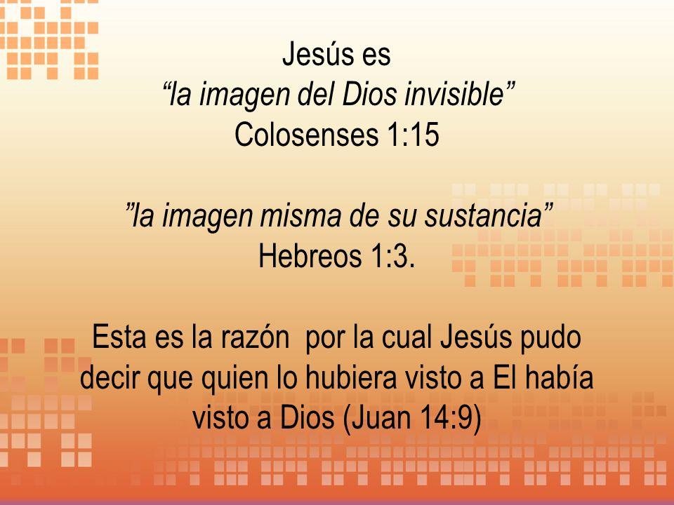Jesús es la imagen del Dios invisible Colosenses 1:15 la imagen misma de su sustancia Hebreos 1:3. Esta es la razón por la cual Jesús pudo decir que q