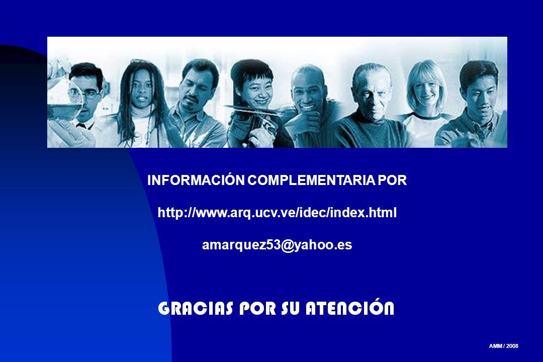 AMM / 2008 INFORMACIÓN COMPLEMENTARIA POR http://www.arq.ucv.ve/idec/index.html amarquez53@yahoo.es