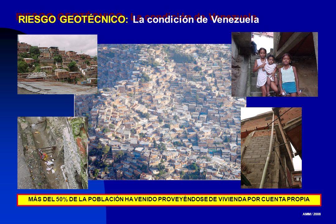 AMM / 2008 RIESGO GEOTÉCNICO: La condición de Venezuela MÁS DEL 50% DE LA POBLACIÓN HA VENIDO PROVEYÉNDOSE DE VIVIENDA POR CUENTA PROPIA