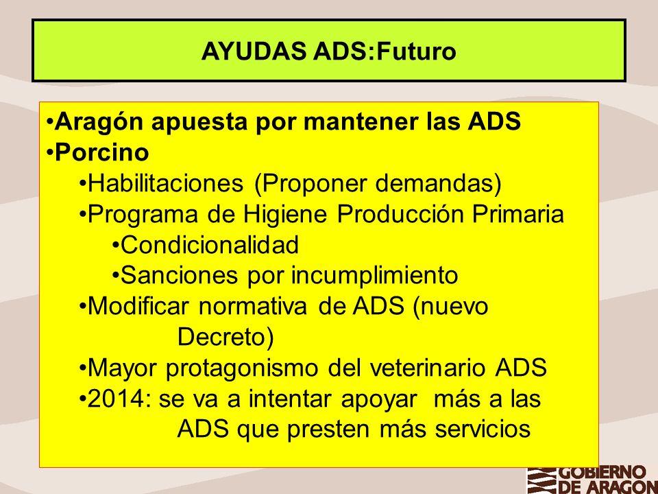 AYUDAS ADS:Futuro Aragón apuesta por mantener las ADS Porcino Habilitaciones (Proponer demandas) Programa de Higiene Producción Primaria Condicionalid