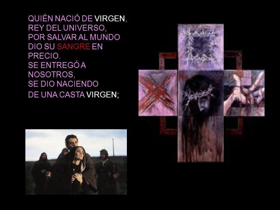 QUIÉN NACIÓ DE VIRGEN, REY DEL UNIVERSO, POR SALVAR AL MUNDO DIO SU SANGRE EN PRECIO.