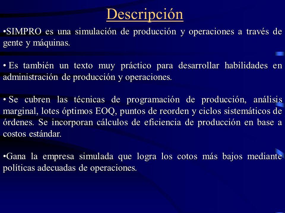 Descripción SIMPRO es una simulación de producción y operaciones a través de gente y máquinas.SIMPRO es una simulación de producción y operaciones a través de gente y máquinas.