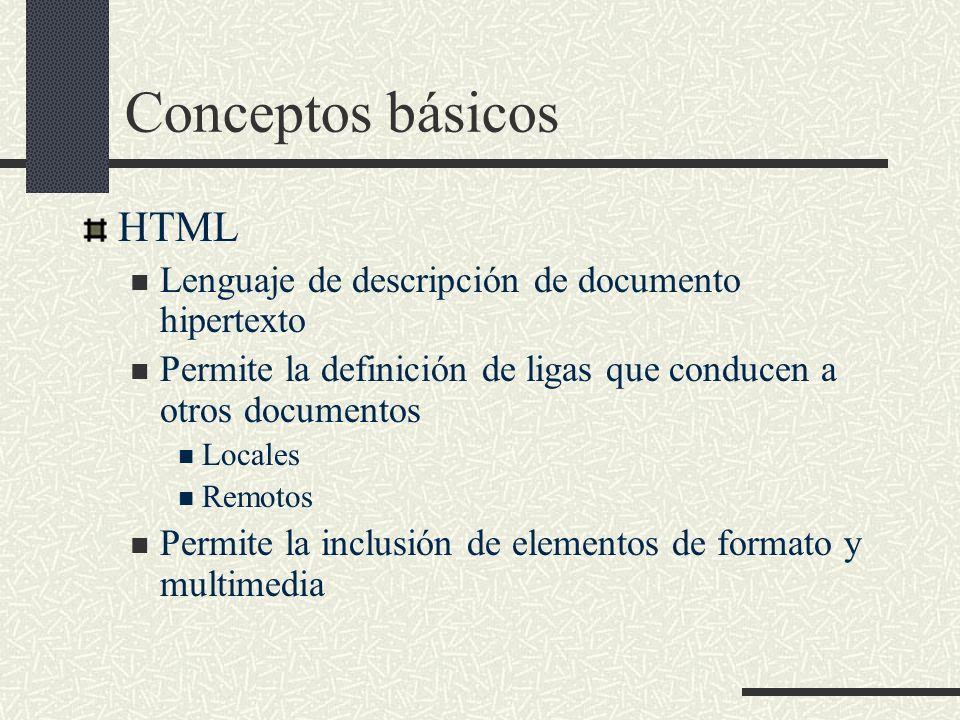 Conceptos básicos HTML Lenguaje de descripción de documento hipertexto Permite la definición de ligas que conducen a otros documentos Locales Remotos