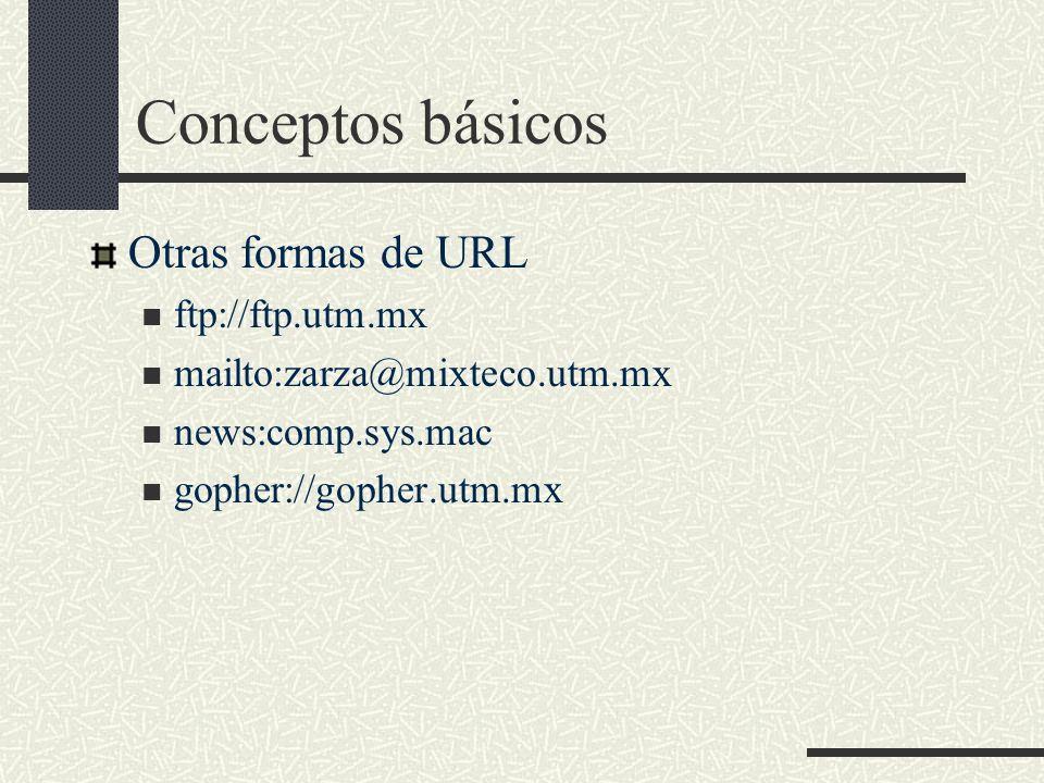 Conceptos básicos Otras formas de URL ftp://ftp.utm.mx mailto:zarza@mixteco.utm.mx news:comp.sys.mac gopher://gopher.utm.mx