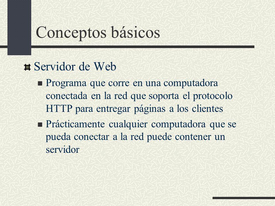 Conceptos básicos Servidor de Web Programa que corre en una computadora conectada en la red que soporta el protocolo HTTP para entregar páginas a los
