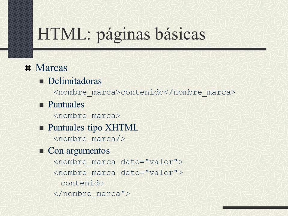 HTML: páginas básicas Marcas Delimitadoras contenido Puntuales Puntuales tipo XHTML Con argumentos contenido