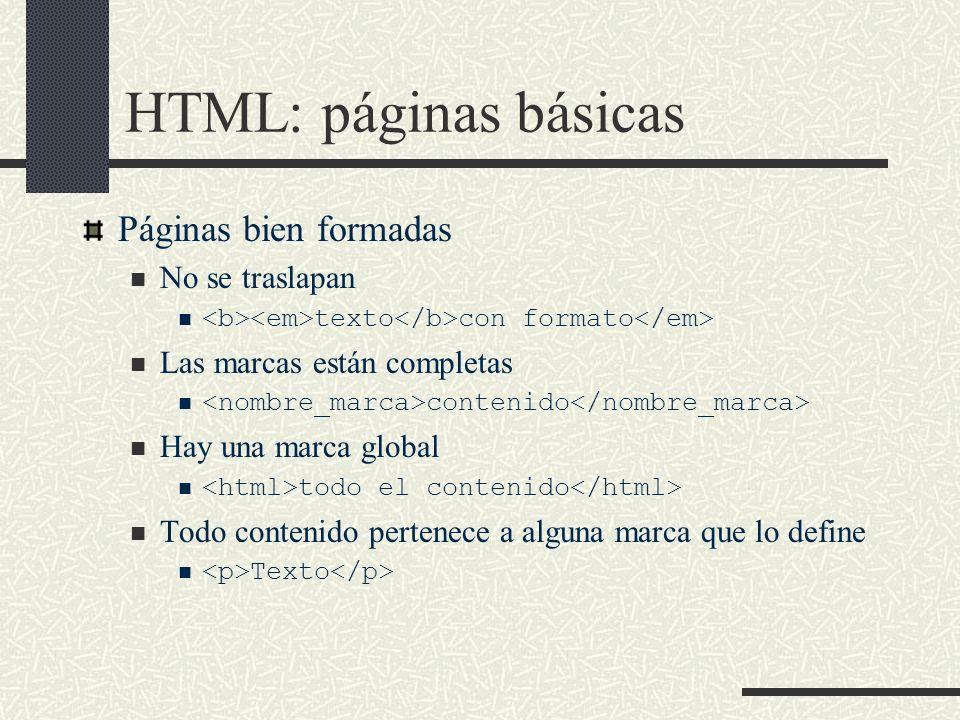HTML: páginas básicas Páginas bien formadas No se traslapan texto con formato Las marcas están completas contenido Hay una marca global todo el conten