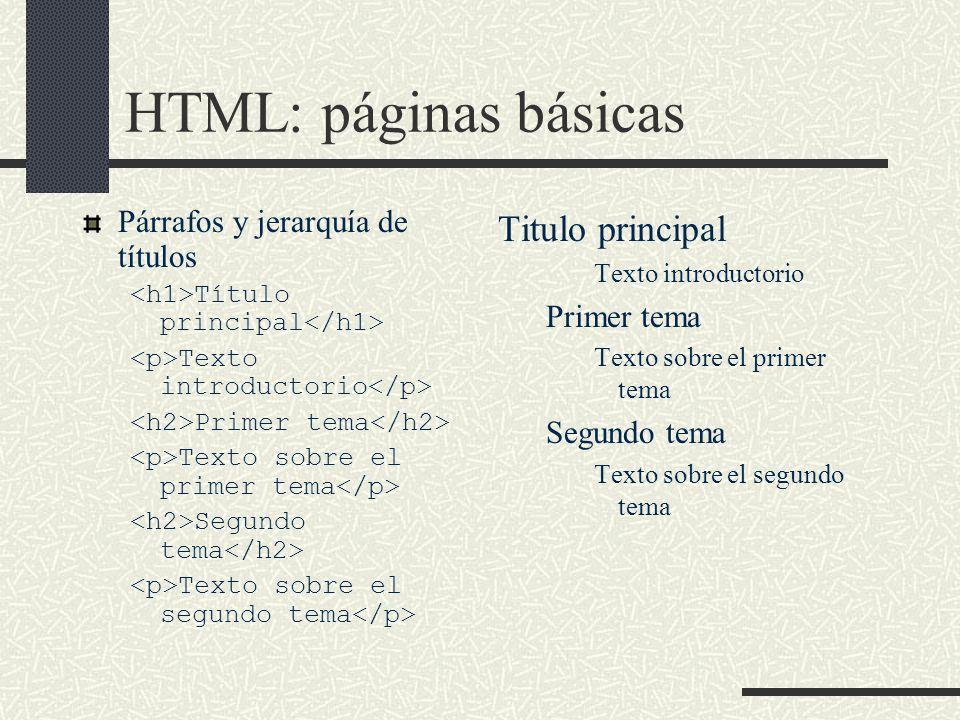 HTML: páginas básicas Párrafos y jerarquía de títulos Título principal Texto introductorio Primer tema Texto sobre el primer tema Segundo tema Texto s