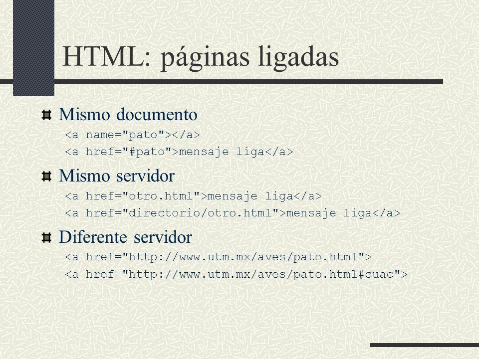 HTML: páginas ligadas Mismo documento mensaje liga Mismo servidor mensaje liga Diferente servidor