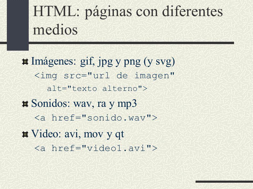 HTML: páginas con diferentes medios Imágenes: gif, jpg y png (y svg) <img src=