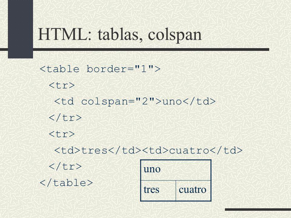 HTML: tablas, colspan uno tres cuatro uno trescuatro