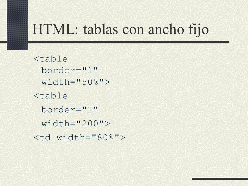 HTML: tablas con ancho fijo <table border=