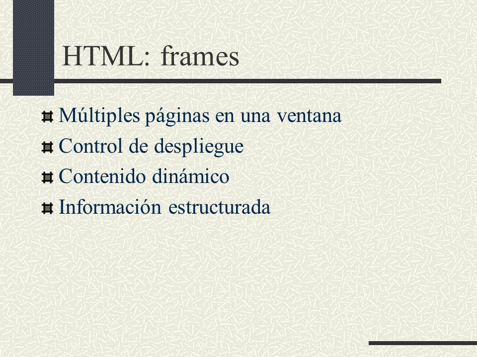 HTML: frames Múltiples páginas en una ventana Control de despliegue Contenido dinámico Información estructurada