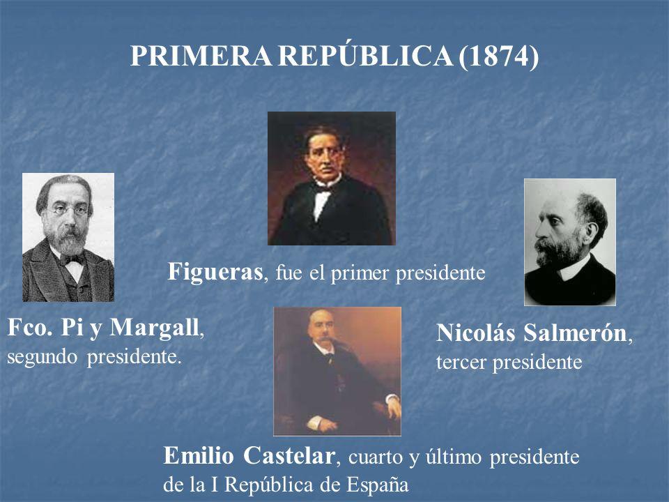 PRIMERA REPÚBLICA ESPAÑOLA (1873 -1874) La abdicación Amadeo I se produjo el 11 de febrero de 1873 por la mañana. Esa misma tarde, el Parlamento era u