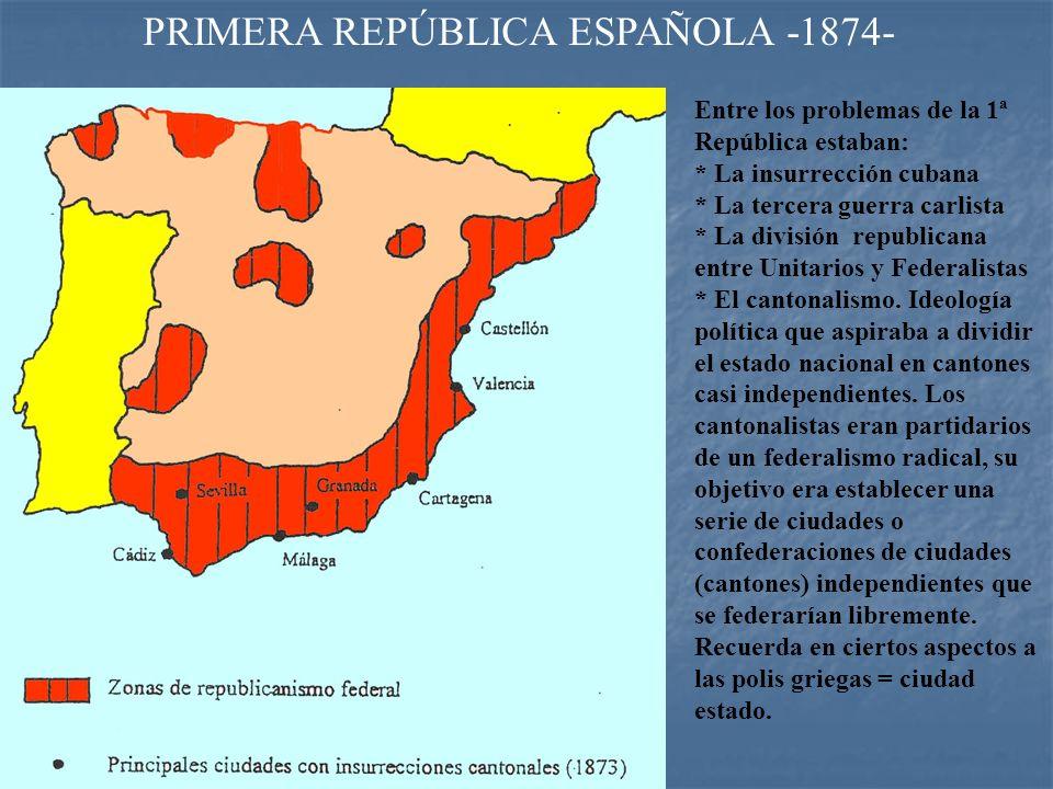 PRIMERA REPÚBLICA (1874) Figueras, fue el primer presidente Fco. Pi y Margall, segundo presidente. Nicolás Salmerón, tercer presidente Emilio Castelar