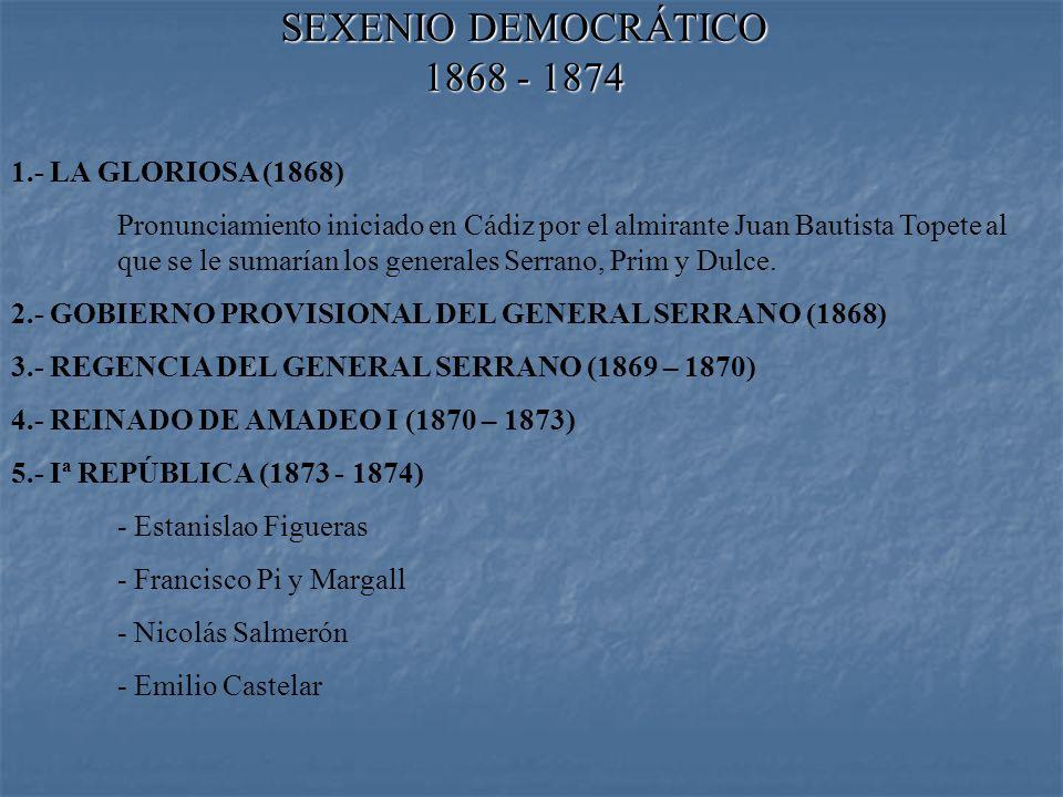 SEXENIO DEMOCRÁTICO 1868 - 1874 1.- LA GLORIOSA (1868) Pronunciamiento iniciado en Cádiz por el almirante Juan Bautista Topete al que se le sumarían los generales Serrano, Prim y Dulce.