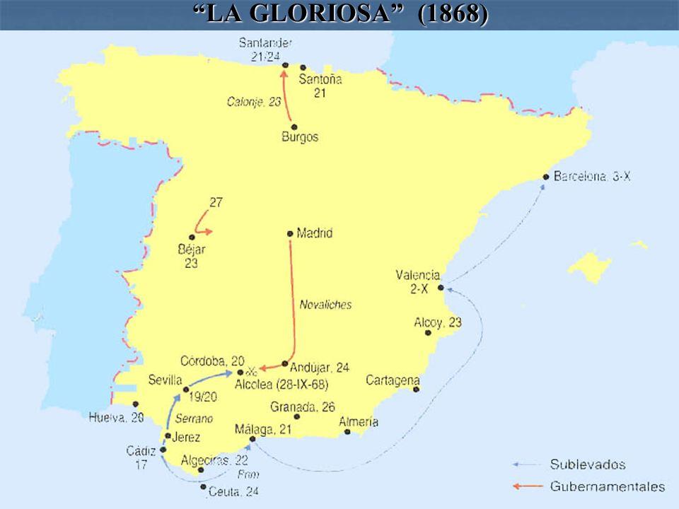LA GLORIOSA (1868) Las fuerzas navales con base en Cádiz al mando del almirante Juan Bautista Topete se levantan contra Isabel II en septiembre de 186