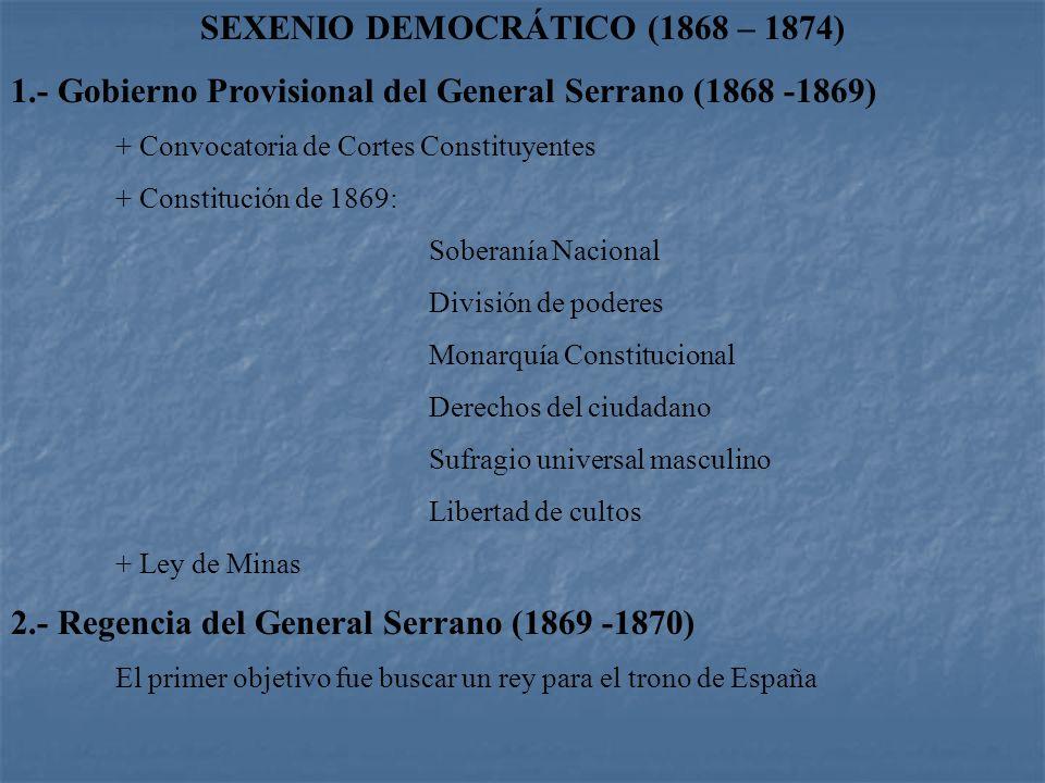 General Francisco Serrano (1813 - 1882). Militar encumbrado por su relación íntima con al reina Isabel II. Formó parte de la Unión Liberal, partido qu
