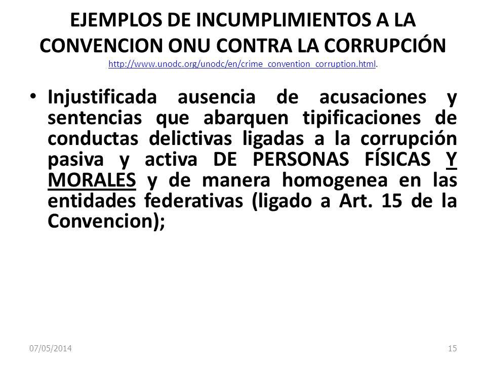07/05/2014 15 EJEMPLOS DE INCUMPLIMIENTOS A LA CONVENCION ONU CONTRA LA CORRUPCIÓN http://www.unodc.org/unodc/en/crime_convention_corruption.html. htt