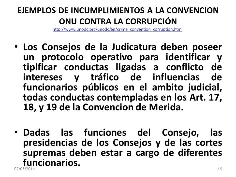 07/05/2014 16 EJEMPLOS DE INCUMPLIMIENTOS A LA CONVENCION ONU CONTRA LA CORRUPCIÓN http://www.unodc.org/unodc/en/crime_convention_corruption.html. htt