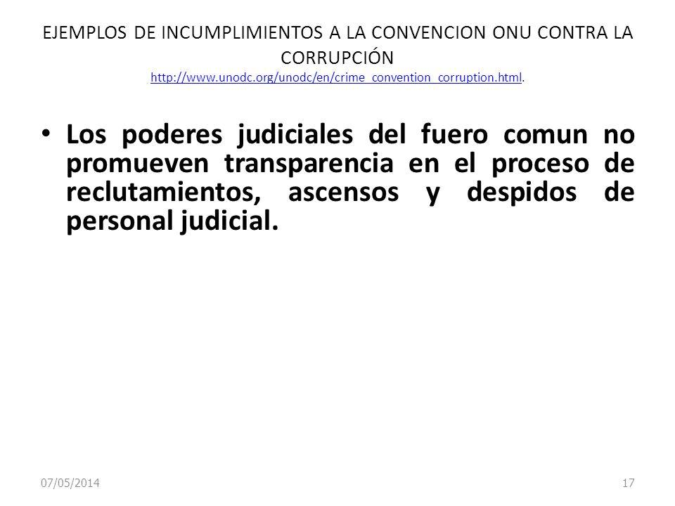 07/05/2014 17 EJEMPLOS DE INCUMPLIMIENTOS A LA CONVENCION ONU CONTRA LA CORRUPCIÓN http://www.unodc.org/unodc/en/crime_convention_corruption.html. htt