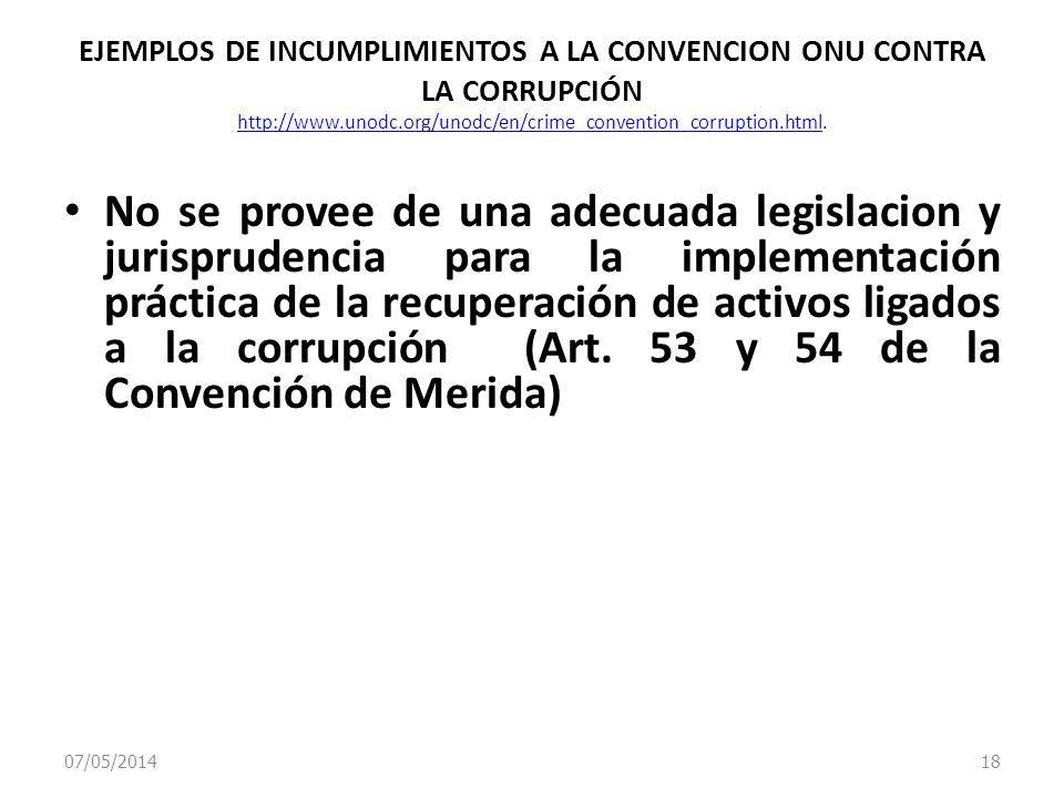 07/05/2014 18 EJEMPLOS DE INCUMPLIMIENTOS A LA CONVENCION ONU CONTRA LA CORRUPCIÓN http://www.unodc.org/unodc/en/crime_convention_corruption.html. htt