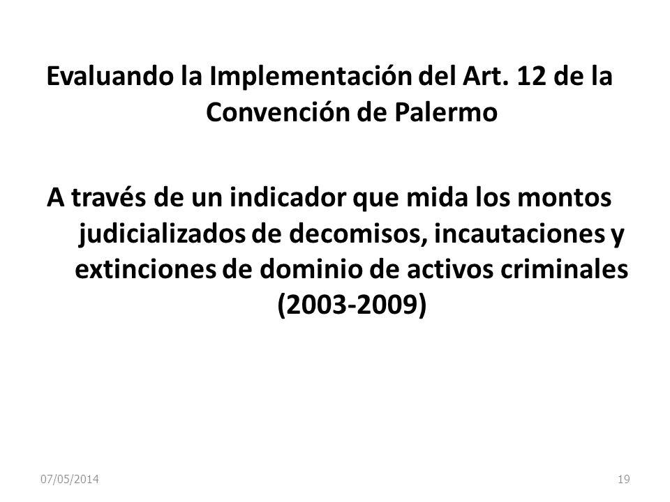 07/05/2014 19 Evaluando la Implementación del Art. 12 de la Convención de Palermo A través de un indicador que mida los montos judicializados de decom