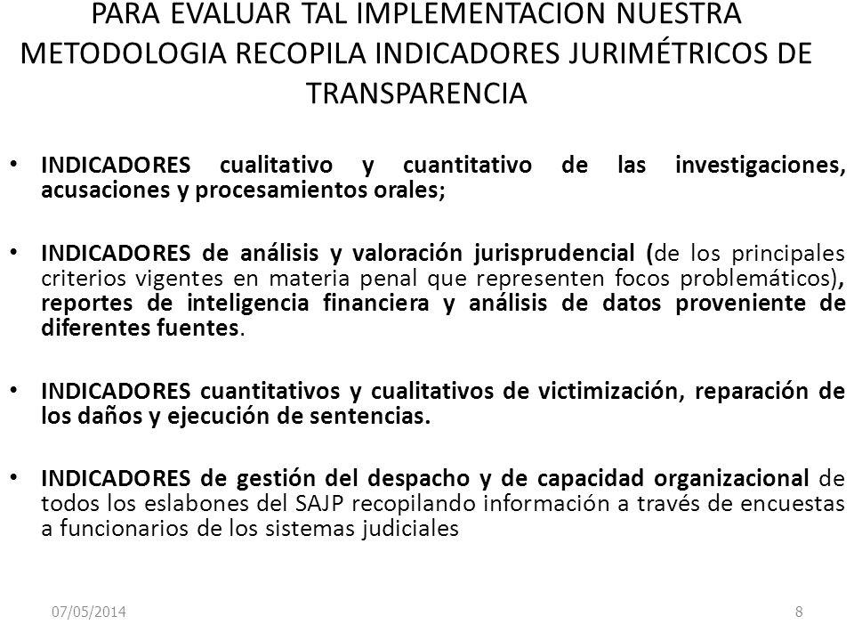 07/05/2014 8 PARA EVALUAR TAL IMPLEMENTACION NUESTRA METODOLOGIA RECOPILA INDICADORES JURIMÉTRICOS DE TRANSPARENCIA INDICADORES cualitativo y cuantita