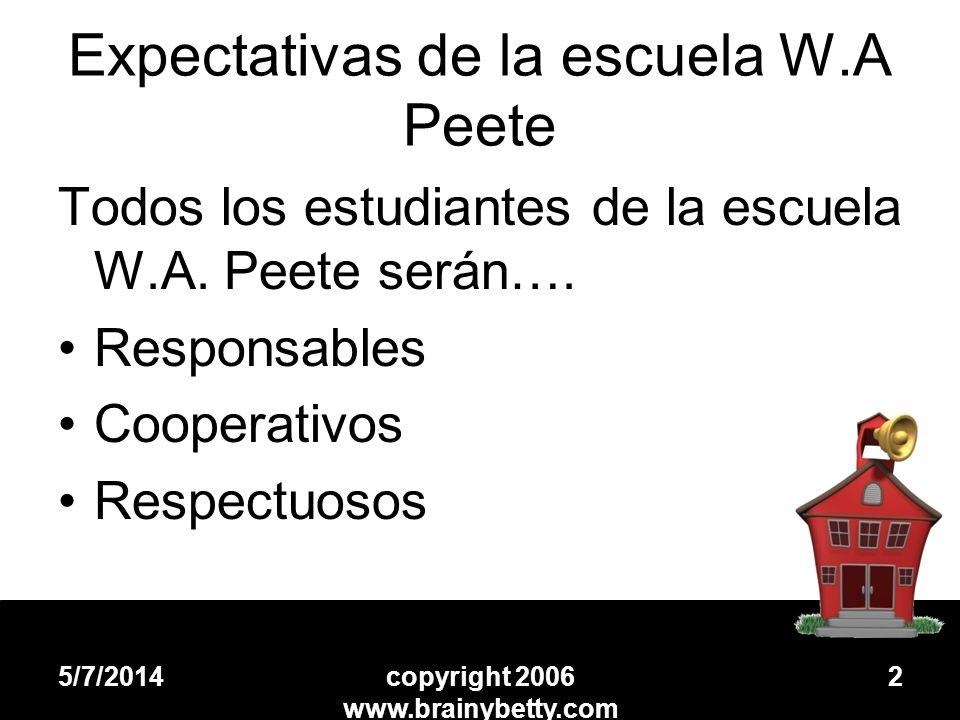 Expectativas de la escuela W.A Peete Todos los estudiantes de la escuela W.A. Peete serán…. Responsables Cooperativos Respectuosos 5/7/2014copyright 2