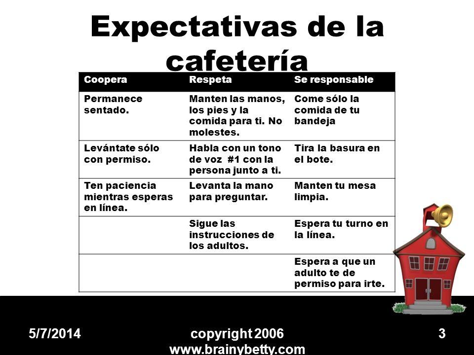 Expectativas de la cafetería 5/7/2014copyright 2006 www.brainybetty.com 3 CooperaRespetaSe responsable Permanece sentado. Manten las manos, los pies y