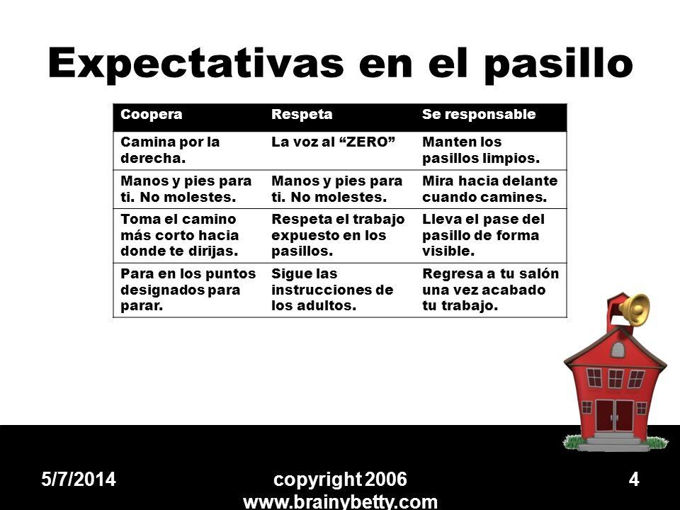 Expectativas en el pasillo 5/7/2014copyright 2006 www.brainybetty.com 4 CooperaRespetaSe responsable Camina por la derecha. La voz al ZEROManten los p