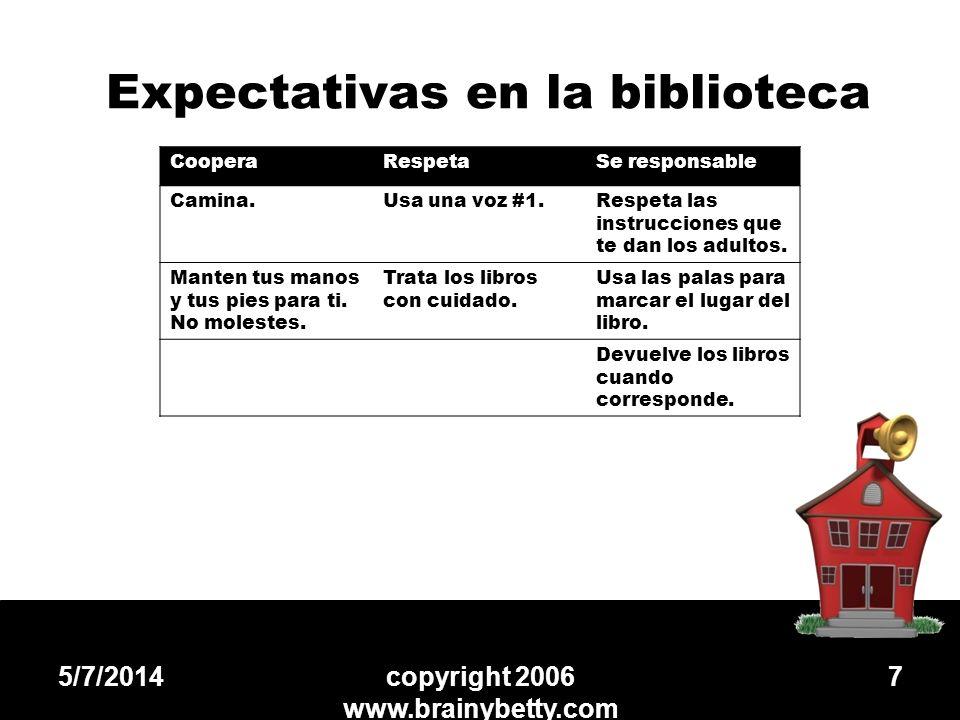 Expectativas en la biblioteca 5/7/2014copyright 2006 www.brainybetty.com 7 CooperaRespetaSe responsable Camina.Usa una voz #1.Respeta las instruccione