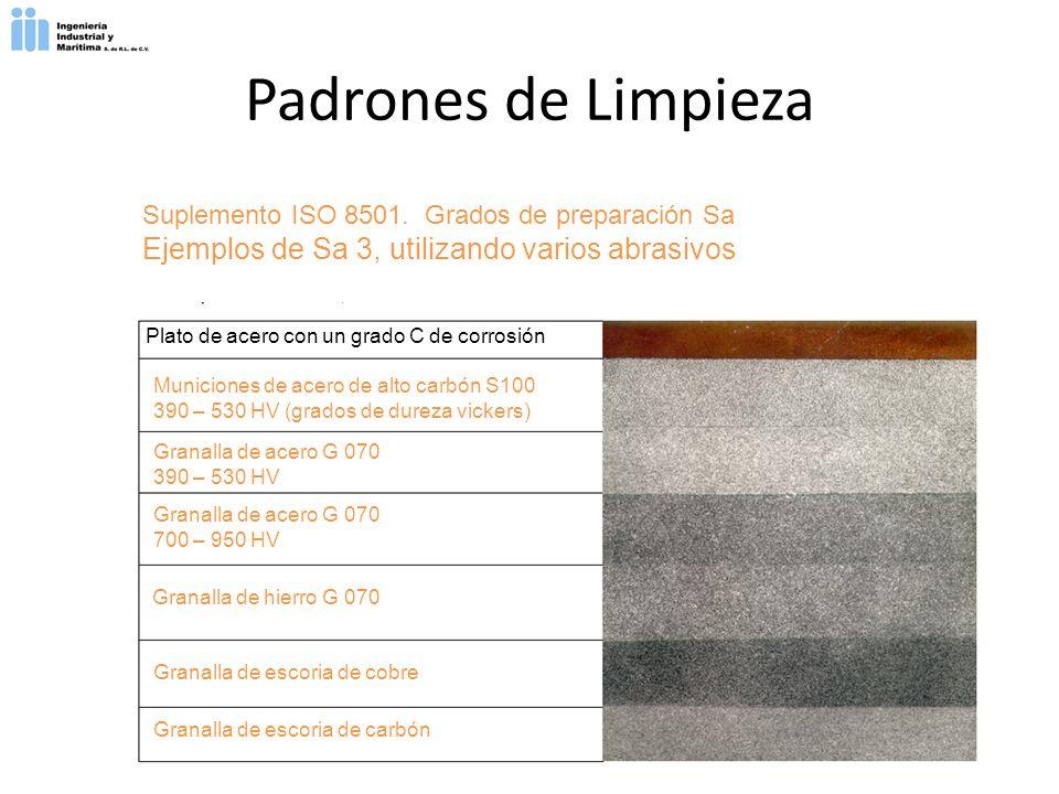 Suplemento ISO 8501. Grados de preparación Sa Ejemplos de Sa 3, utilizando varios abrasivos Plato de acero con un grado C de corrosión Municiones de a