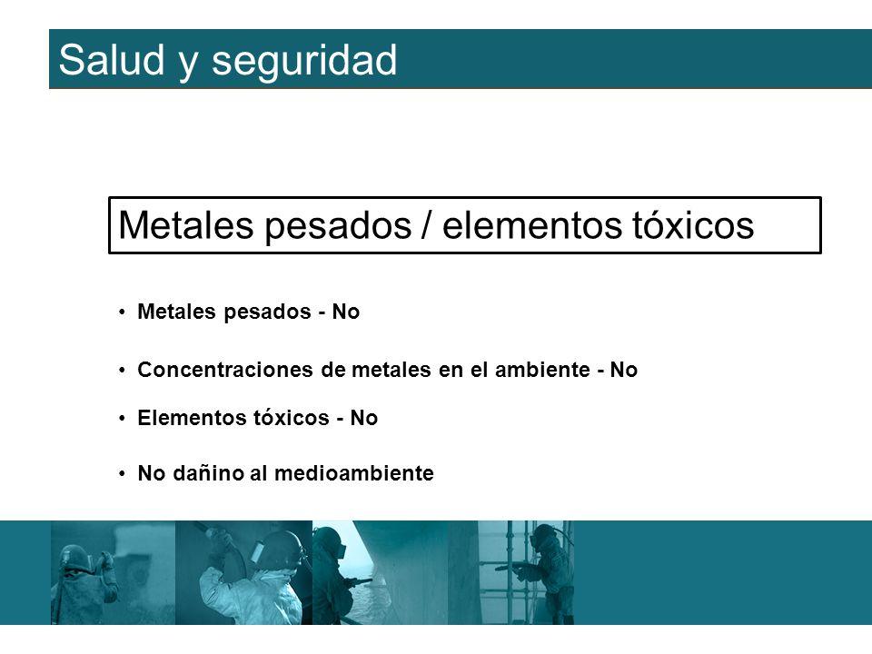 Salud y seguridad Metales pesados - No Metales pesados / elementos tóxicos Elementos tóxicos - No Concentraciones de metales en el ambiente - No No da