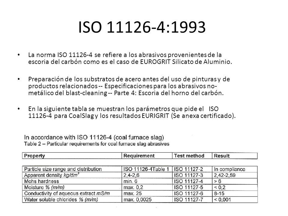 ISO 11126-4:1993 La norma ISO 11126-4 se refiere a los abrasivos provenientes de la escoria del carbón como es el caso de EUROGRIT Silicato de Alumini