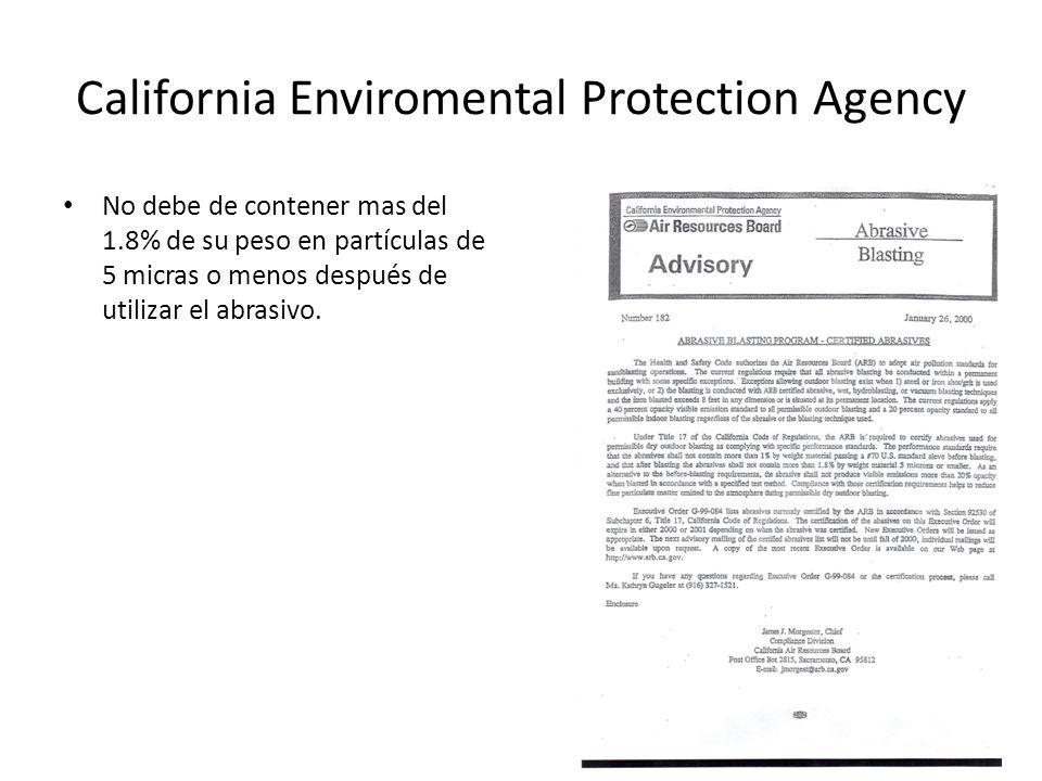 California Enviromental Protection Agency No debe de contener mas del 1.8% de su peso en partículas de 5 micras o menos después de utilizar el abrasiv