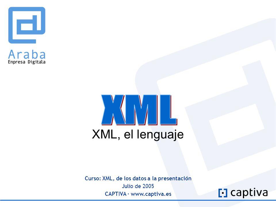 Curso: XML, de los datos a la presentación Julio de 2005 CAPTIVA · www.captiva.es XML, el lenguaje
