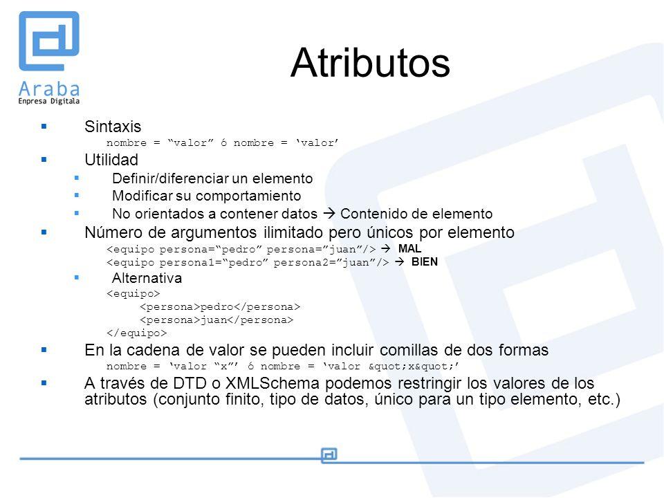 Atributos Sintaxis nombre = valor ó nombre = valor Utilidad Definir/diferenciar un elemento Modificar su comportamiento No orientados a contener datos