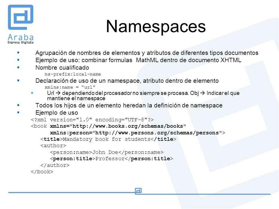 Namespaces Agrupación de nombres de elementos y atributos de diferentes tipos documentos Ejemplo de uso: combinar formulas MathML dentro de documento