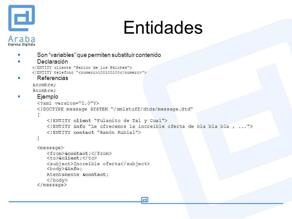 Entidades Son variables que permiten substituir contenido Declaración 100100100 > Referencias &nombre; %nombre; Ejemplo <!DOCTYPE message SYSTEM /xmls