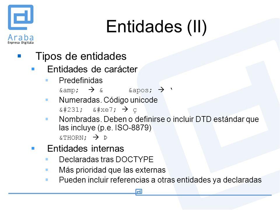 Entidades (II) Tipos de entidades Entidades de carácter Predefinidas & & ' Numeradas. Código unicode ç ç ç Nombradas. Deben o defin