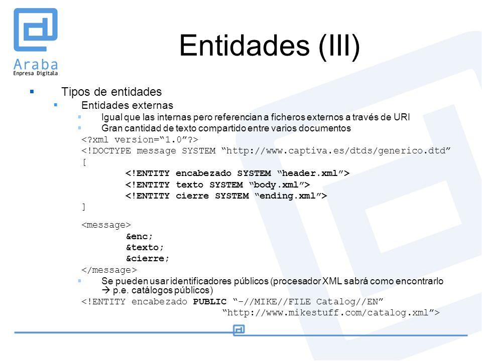 Entidades (III) Tipos de entidades Entidades externas Igual que las internas pero referencian a ficheros externos a través de URI Gran cantidad de tex