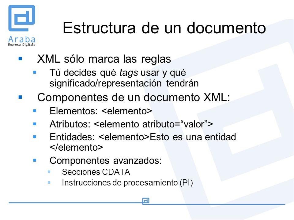 Estructura de un documento XML sólo marca las reglas Tú decides qué tags usar y qué significado/representación tendrán Componentes de un documento XML