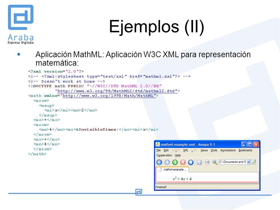 Ejemplos (II) Aplicación MathML: Aplicación W3C XML para representación matemática: