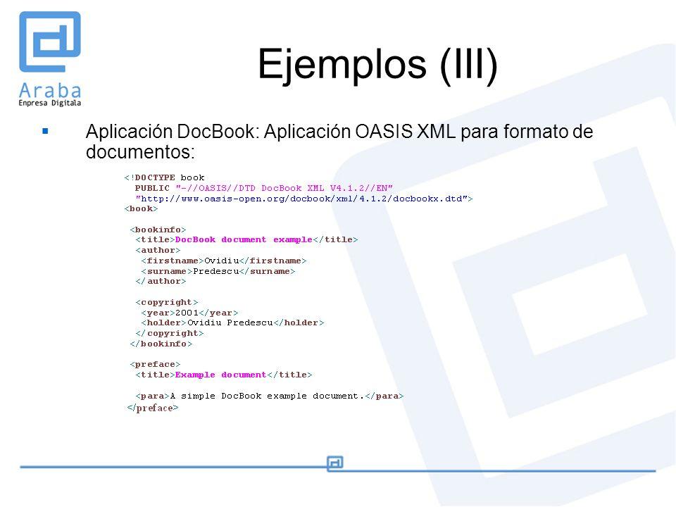 Ejemplos (III) Aplicación DocBook: Aplicación OASIS XML para formato de documentos: