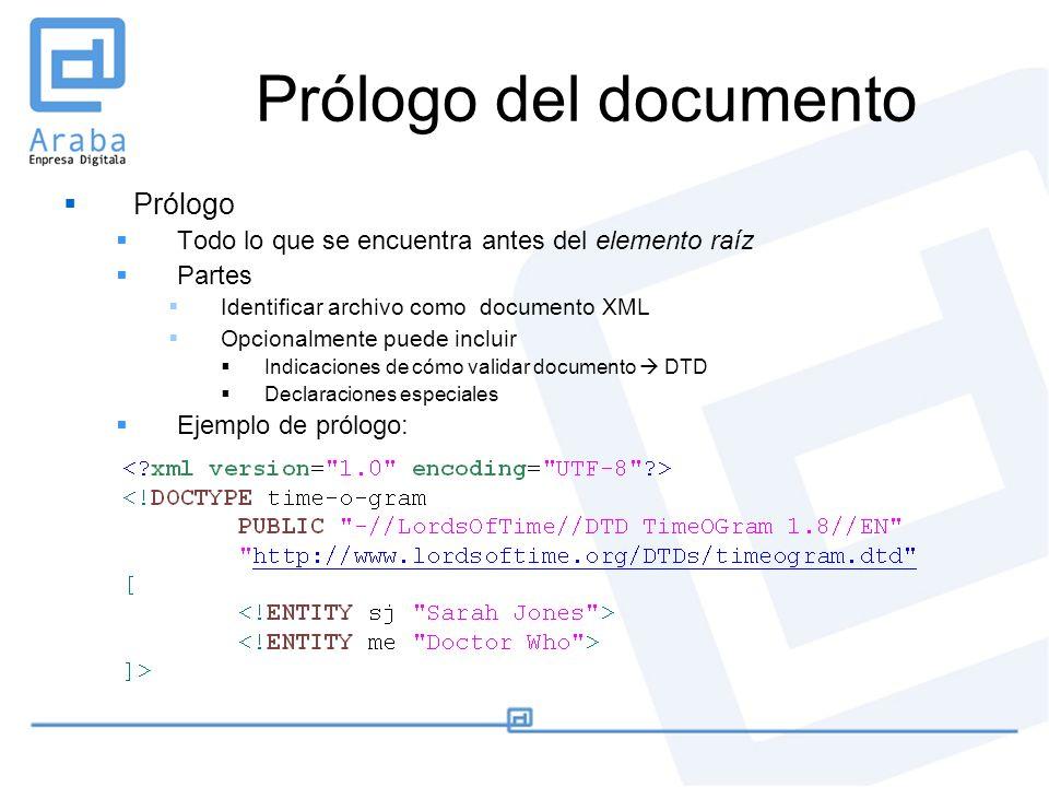 Prólogo del documento Prólogo Todo lo que se encuentra antes del elemento raíz Partes Identificar archivo como documento XML Opcionalmente puede inclu