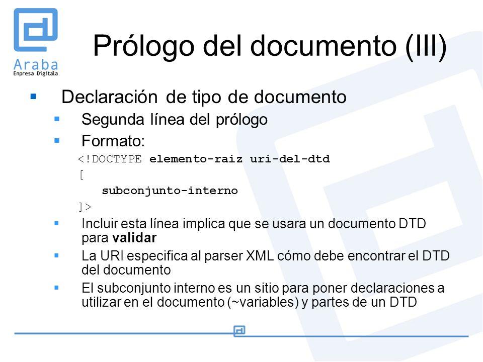 Prólogo del documento (III) Declaración de tipo de documento Segunda línea del prólogo Formato: <!DOCTYPE elemento-raiz uri-del-dtd [ subconjunto-inte