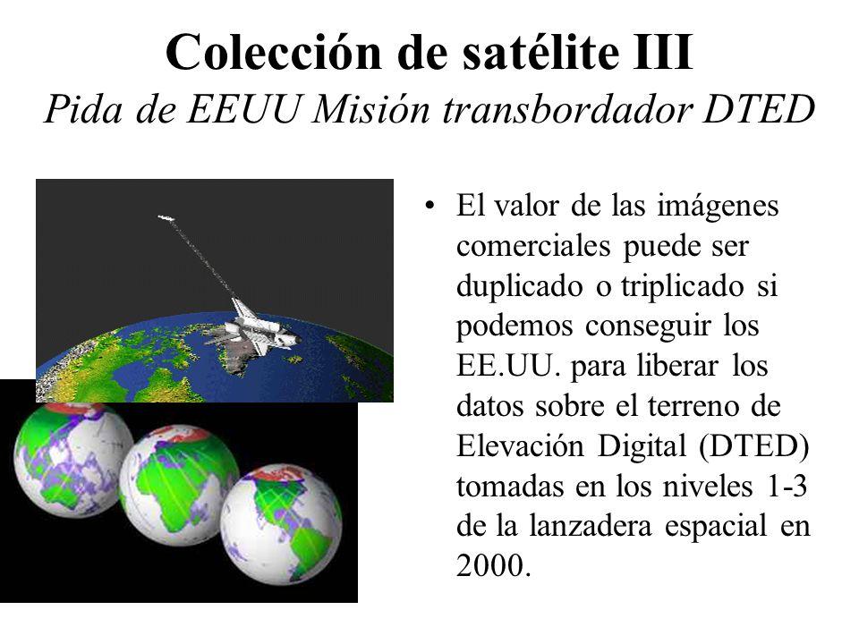Colección de satélite III Pida de EEUU Misión transbordador DTED El valor de las imágenes comerciales puede ser duplicado o triplicado si podemos cons