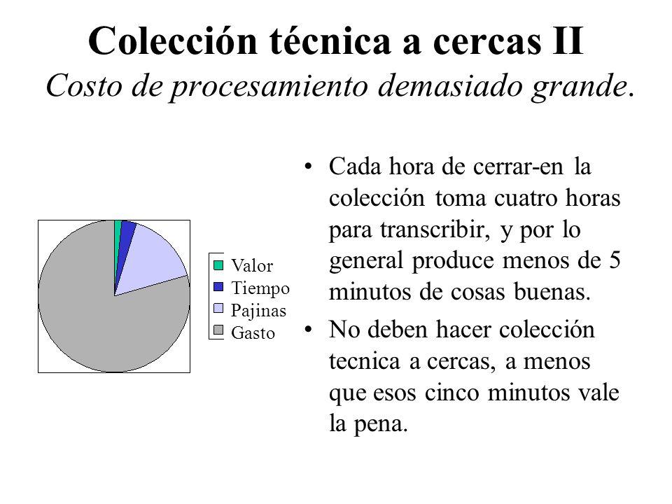 Colección técnica a cercas II Costo de procesamiento demasiado grande. Cada hora de cerrar-en la colección toma cuatro horas para transcribir, y por l