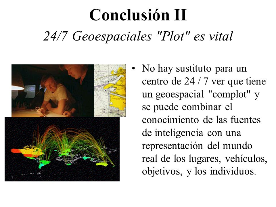 Conclusión II 24/7 Geoespaciales Plot es vital No hay sustituto para un centro de 24 / 7 ver que tiene un geoespacial complot y se puede combinar el conocimiento de las fuentes de inteligencia con una representación del mundo real de los lugares, vehículos, objetivos, y los individuos.